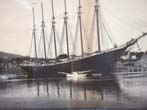 click to view detailed description of A fine original photo of the six-masted schooner George W. Wells of Camden, Maine dated 1900