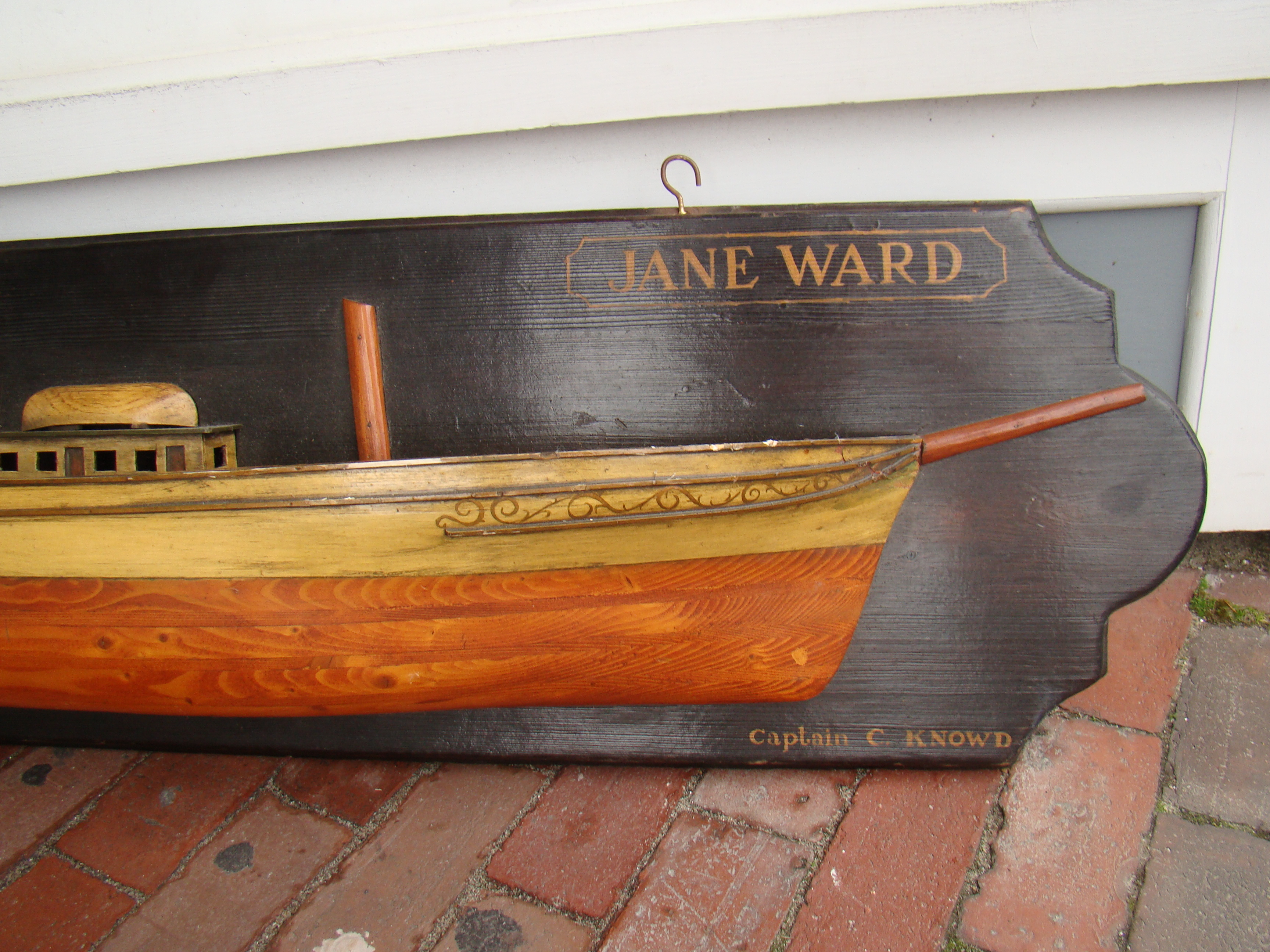 click to view detailed description of A fine vintage half hull model of the British Clipper Ship Jane Ward built in London in 1863