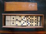 click to view detailed description of A good set of Civil War era bone & ebony dominoes circa 1865
