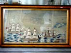 click to view detailed description of Perhaps the best multi ship sailors woolwork picture on the market today!! Circa 1850-1870.
