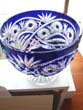 click to view detailed description of A stunning cobalt blue cut glass footed bowl