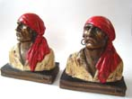 click to view detailed description of Buccaneer bookends designed by Paul Herzel and made by the Armor Bronze Co. in 1928