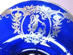 click to view detailed description of A stunningly beautiful vintage cobalt blue glass bowl with fabulous silver overlay