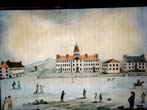 click to view detailed description of A fabulous reproduction of the pen, ink and watercolor painting of Dartmouth University done by George Ticknor, aged 11, in July 1803.