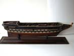 click to view detailed description of A mid 19th century unrigged sailors model of a 96 gun ship, possibly HMS Asia, circa 1840-1850.