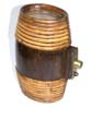 click to view detailed description of An antique whiskey flask or keg with rattan wrapped ends circa 1890-1900