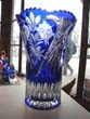 click to view detailed description of An attractive vintage cobalt blue hand-cut lead crystal vase made in East Germany circa 1960
