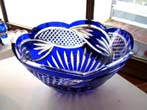 click to view detailed description of A fine cobalt blue hand cut lead crystal bowl