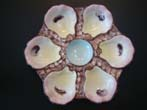 click to view detailed description of A very attractive hand painted bone china oyster plate circa 1875-1890