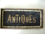 click to view detailed description of An unusual Antiques Trade Sign in the form of a tray banded with faux dominoes and faux bone edge