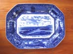click to view detailed description of A beautiful blue transfer serving platter made in 1908 commemorating the Pilgrims, the Mayflower and the town of Plymouth, Massachusetts