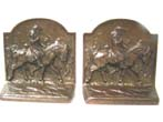 click to view detailed description of A fine pair of antique Bookends by Hubley circa 1920 depicting George Washington at Valley Forge