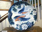 click to view detailed description of A beautiful large Japanese charger featuring koi fish