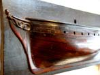 click to view detailed description of A RARE 18th century Museum quality English Half Hull Model circa 1750-1780