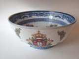 click to view detailed description of A beautiful Chinese Export Armorial bowl made by Samson circa 1880