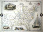 click to view detailed description of A rare small Map of the UNITED STATES published in 1850 by J & F Tallis