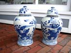 click to view detailed description of A fabulous PAIR of Chinese Temple Jars, 20th century
