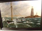 click to view detailed description of A 19th century oil on canvas depicting a sloop in rough water near a rocky shoreline with a lighthouse and other ships in the background.