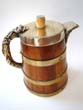 click to view detailed description of A Victorian brass bound oak Beer Tankard circa 1870