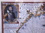 click to view detailed description of A fine reproduction map of Capt. John Smith,s Map fo New England first published in 1614