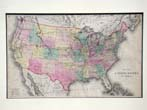 click to view detailed description of A fine hand colored map of the United States of America published in 1872