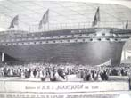 click to view detailed description of A 19th century steel engraving of the Launch of H M S Agamemnon printed in The Illustrated London News May 29, 1852