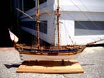 click to view detailed description of A model of a late 18th century English two masted sloop carrying two mortars