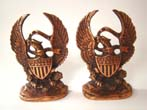 click to view detailed description of A fine pair of vintage American eagle bronze finished bookends by Hubley Mfg. circa 1927