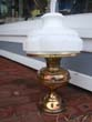 click to view detailed description of A very nice late 19th century oil lamp, converted to electricity