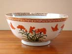click to view detailed description of A beautiful large Chinese Export style punch bowl by Mottahedeh