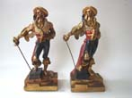 click to view detailed description of A pair of swashbuckler pirate bookends made by the Armor Bronze Company circa 1928