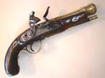 click to view detailed description of An 18th century flintlock blunderbuss pistol signed Barnett circa 1760-1780