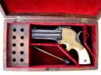click to view detailed description of A fine cased William W. Marston three-barrelled .32 cal Derringer circa 1864-1872