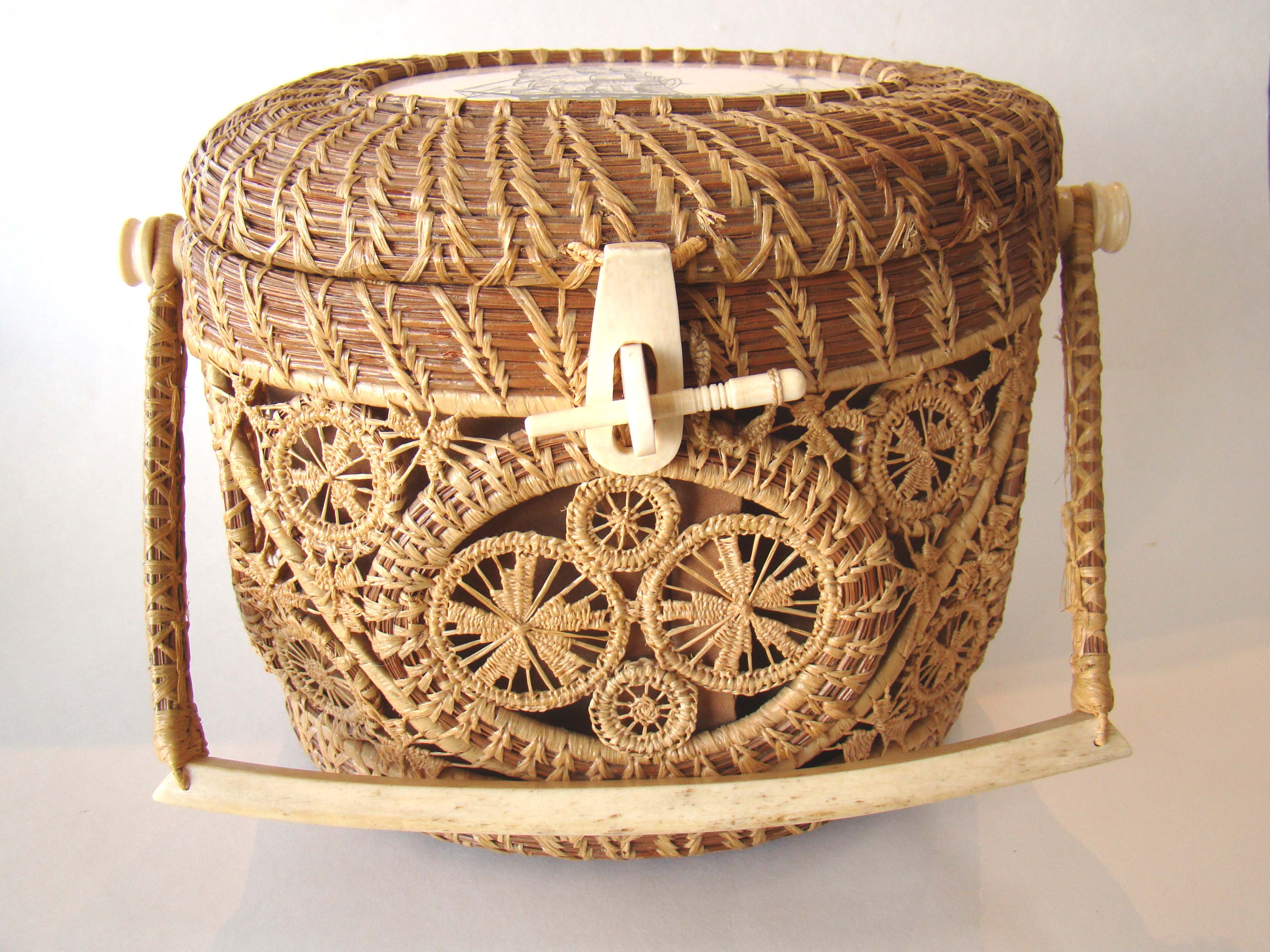 click to view detailed description of A famous Mattapoisett basket made by the original creator of the baskets Gladys Ellis circa 1970