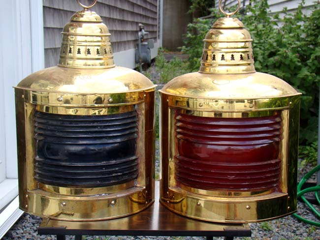 click to view detailed description of A fine and large pair of Port and Starboard ships lamps by Perko circa 1910-1920