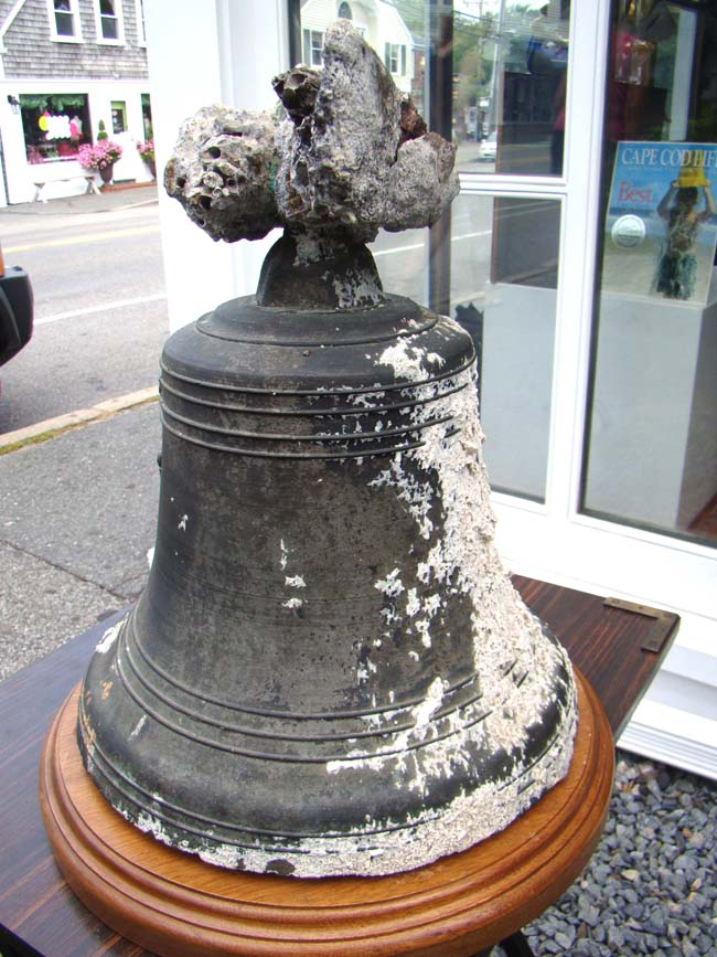 click to view detailed description of SALVAGED FROM A SHIPWRECK!! A fabulous ships bell dated 1776.