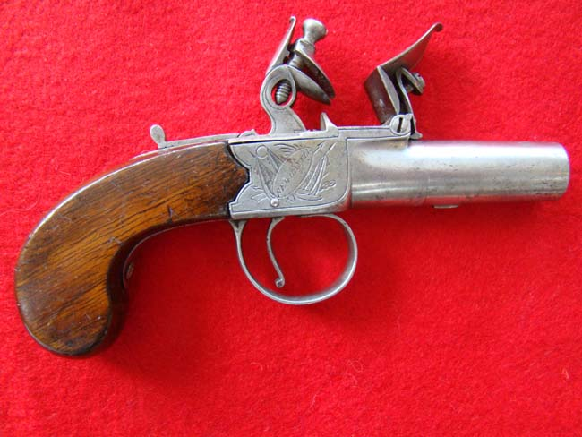 click to view detailed description of An English flintlock .48 cal. pocket pistol by Johnson of New Castle circa 1790
