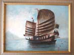 click to view detailed description of A fine vintage China trade painting of a Chinese junk