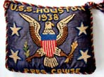 click to view detailed description of An historic silk embroidered pillow made to commemorate Pres. Franklin Roosevelts 24 day cruise aboard the (ill-fated) USS HOUSTON in July 1938.