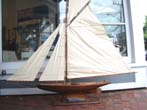 click to view detailed description of A fine plank-on-frame English gaff-rigged racing pond boat circa 1930 named Margharita