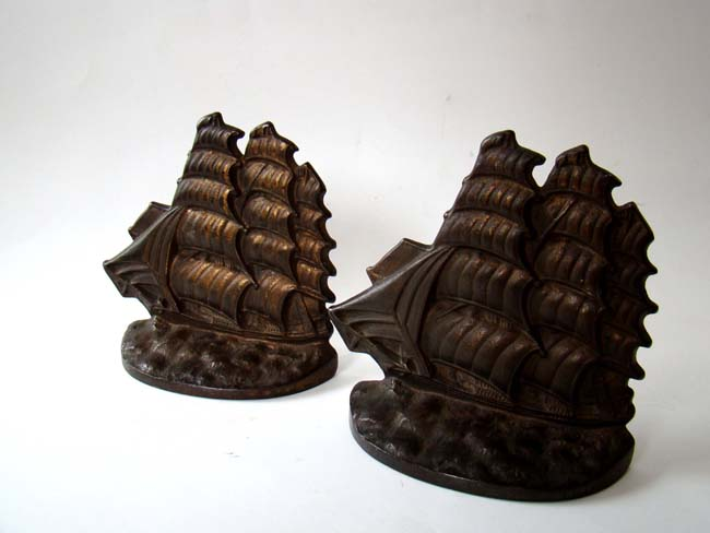 click to view detailed description of A pair of Flying Cloud clipper ship bookends made by the Connecticut Foundry in 1929