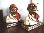 click to view detailed description of A near mint condition pair of Marion Bronze Co. Pirate head bookends circa 1929