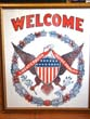 click to view detailed description of A fine and patriotic WELCOME banner circa 1920