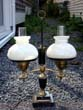 click to view detailed description of A beautiful double fluid lamp, now electrified, circa 1900-1920