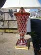click to view detailed description of A very attractive ruby red cut to clear crystal lamp circa 1930