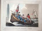 click to view detailed description of A wonderful set of four early 19th century hand colored whaling engravings published in 1813