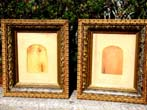 click to view detailed description of A wonderful pair of Civil War era carved wood and gilded gesso picture or photo frames circa 1865