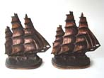 click to view detailed description of A pair of Clipper Ship bookends by Bronze Met circa 1924