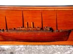 click to view detailed description of A fine antique American Half-Hull Model of an auxulliary Sail and Steamship circa 1885