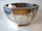 click to view detailed description of A large 19th century engraved coin silver sugar bowl inscribed